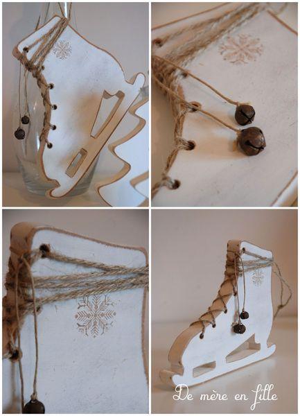 petits patins taillés et lacés d'une corde de jute avec grelots