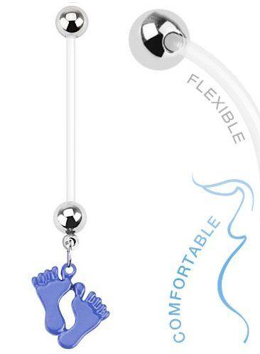 "Baby Feet (Blue Boy, Pink Girl) 14g BioFlex Maternity Pregnancy Navel Dangle Bio Flex Belly Ring (Blue):   Baby Feet Dangle Bio Flex Pregnancy Navel Ring. 14G(1.6mm) 1""(25mm). Choose either blue or pink."