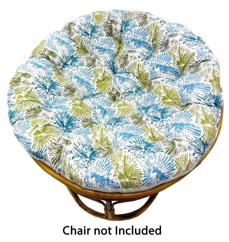 Cotton Craft Papasan Impressions Blue Teal Green Overstuffed Chair Cushion, Sink into our Thick Comfortable and Oversized Papasan, Pure 100% Cotton duck fabric, Fits Standard 45 inch round Chair