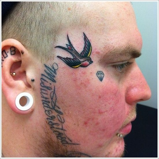 7 best images about awesome face tattoo design for men and for Girl with star tattoos on face