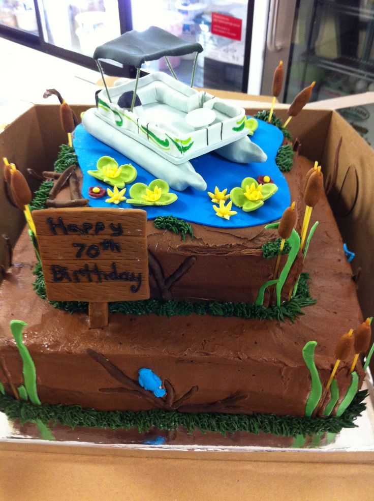 80th Birthday Pontoon Boat Cake Our Cakes Boat Cake