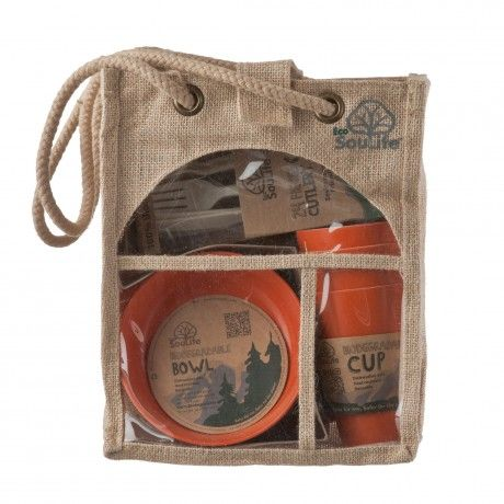 Biodegradable Picnic set-4 people pack,made from innovative renewable resources like Bamboo and corn starch.  www.capeunionmart.co.za
