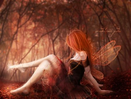 Unique+Fairies | Red Fairy - red, fairy, hair, abstract, fantasy