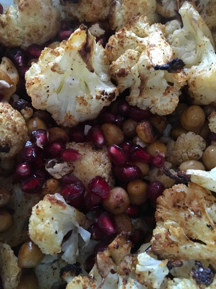 Roasted cauliflower and chickpeas with pomegranite. Good
