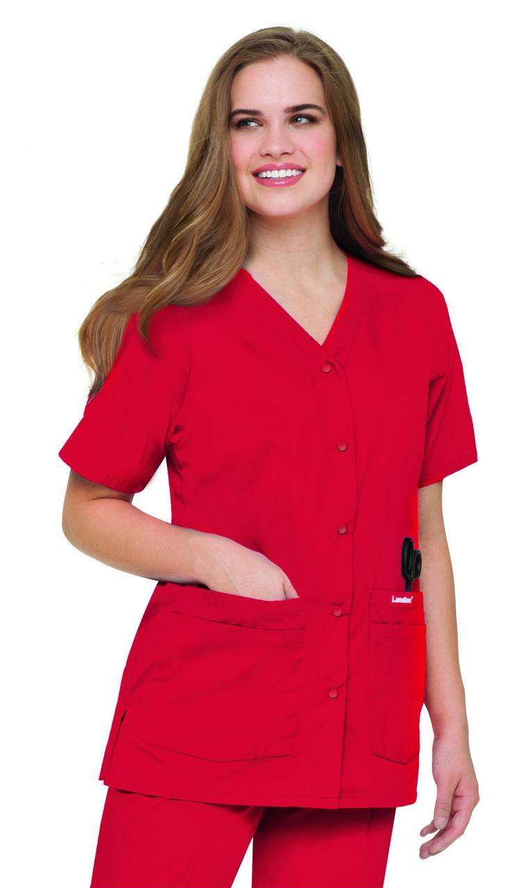 Classic Landau Snap-front 8232 Tunic in TRUE RED #landau #uniforms #medical #fashion #scrubs #health #healthcare #hospital #doctor #nurse #nursing #rn #cna #cargo #pant #true #red