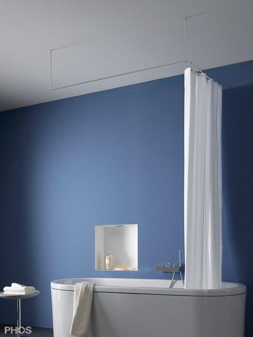 Duschvorhangstange Edelstahl in U-Form mit Deckenbefestigung