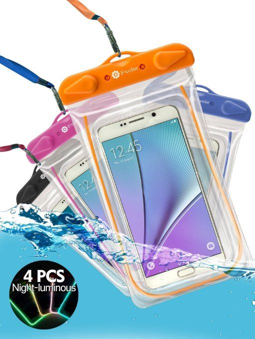 Waterproof Case, 4 Pack F-color™ Clear Transparent TPU Perfect for Rafting, Kayaking, Swimming, Boating, Fishing, Skiing, Protect iPhone 6S Plus, Galaxy S6, Motorola etc. Orange Blue Black Pink More