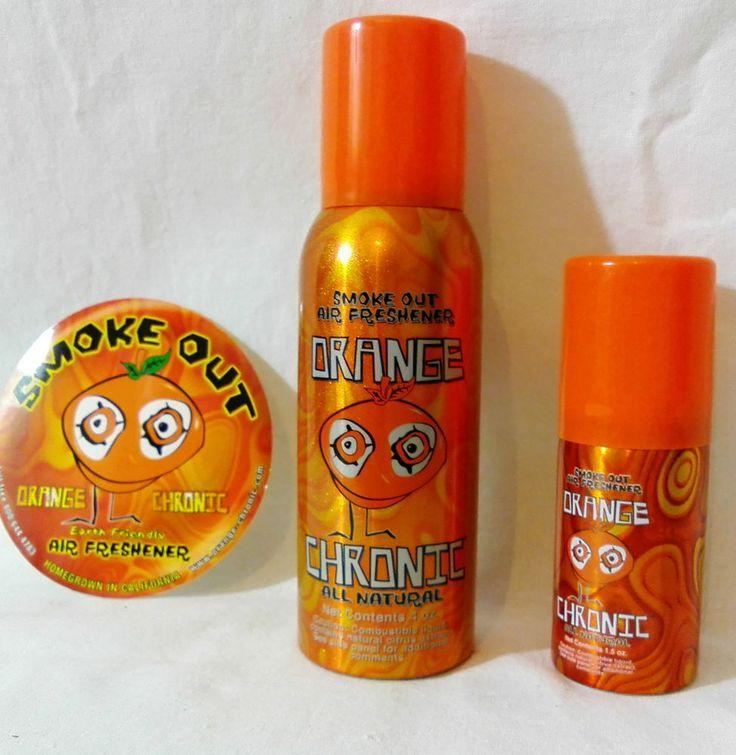 ORANGE CHRONIC Smoke out SUPER STRONG Citrus Orange Natural AIR FRESHENER 1.5oz