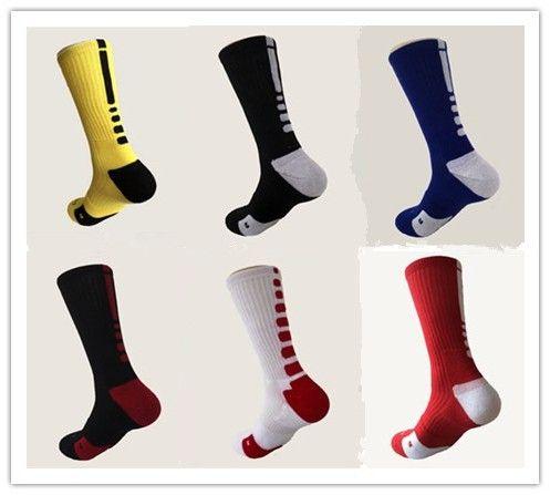 米国ブランド固体弾性メンズテリークルーバスケットボールソックス綿ビッグサイズソックスプロフェッショナルタオル底膝靴下男性