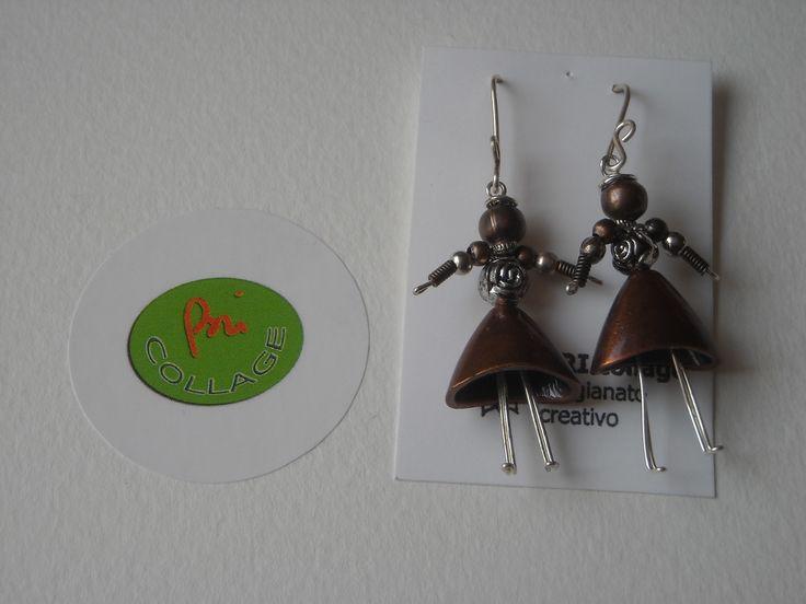 """""""le sorelline"""" orecchini in filo di argento e elementi argento tibetano, realizzati completamente a mano"""