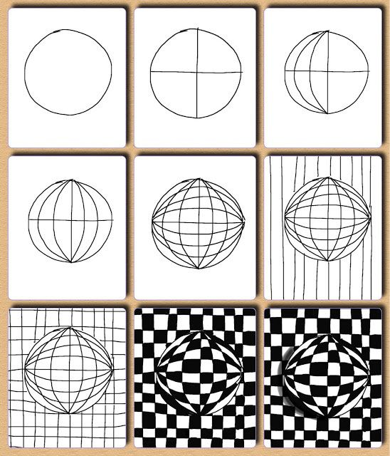 Op Art tutorial! Fantastic step-by-step visual of a Victor Vasarely (similar to Vega-Nor, 1969) piece for students.