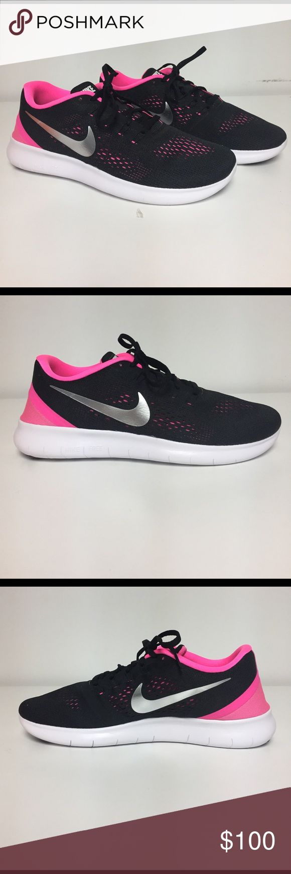 Nike ID Free RN Training Shoes Completely customized with Nike ID! Super cute hot pink and black design. Black laces and white sole. Nike Free which is perfect for training or running. Please note.. these are a men's size 7.5 which will fit a women's size 8.5. Brand New shoes.  No box included. No trades. Nike Shoes Athletic Shoes