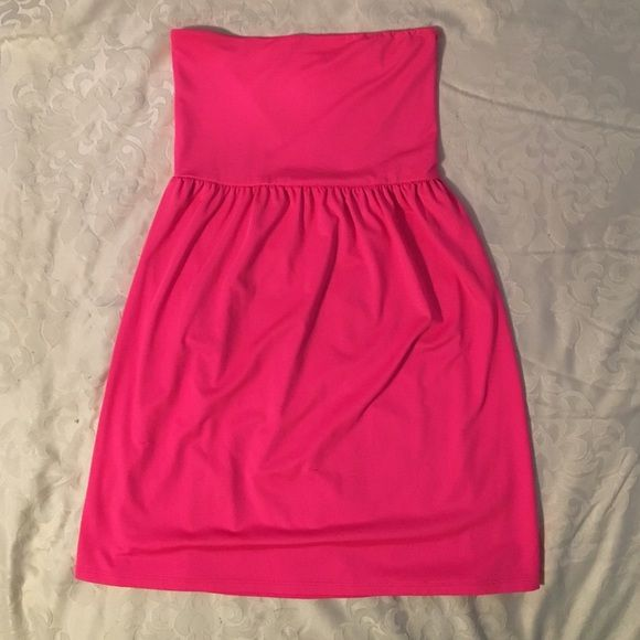 Pink Beach Dress Neon pink beach dress. Great for summer wear or a cover up to the beach! Op Dresses Strapless