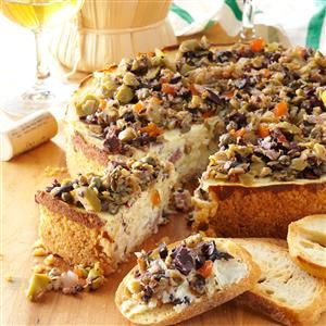 Muffuletta Cheesecake Recipe -When I needed a party appetizer and couldn't find a recipe I liked, I created my own. This savory spread boasts the flavors of a classic Italian muffuletta sandwich.—Helen Flamm, Dayton, Ohio