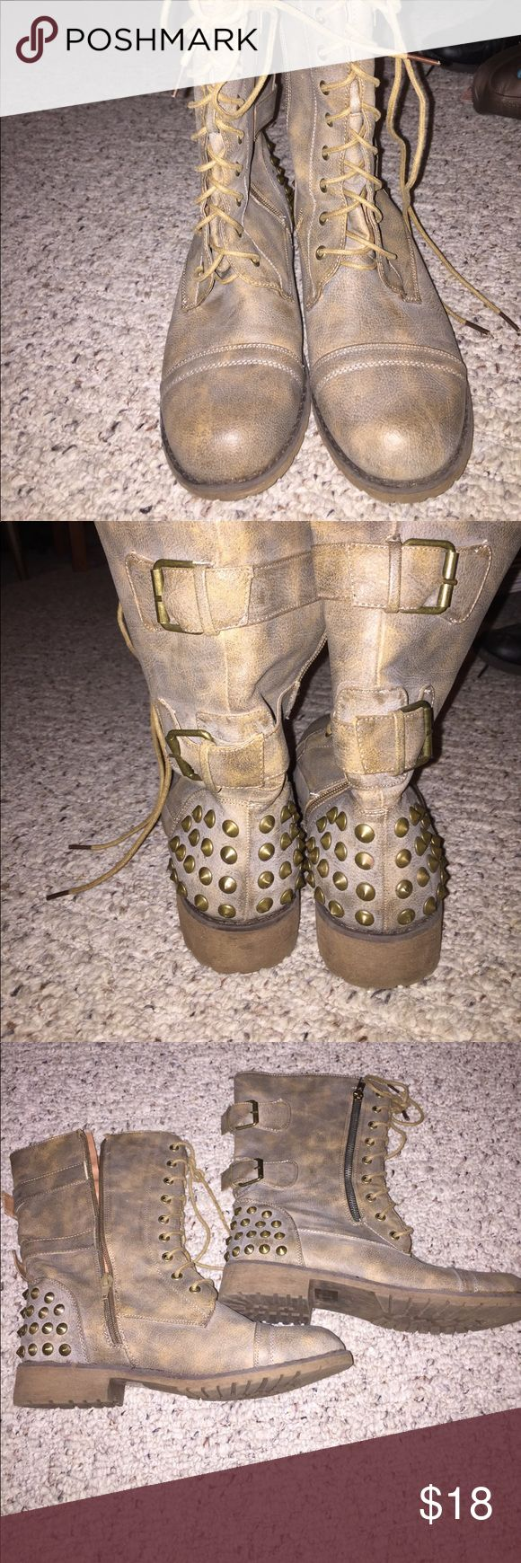 Studded combat boots Tarnish brown student combat boots. Great condition Nature Brand Shoes Combat & Moto Boots