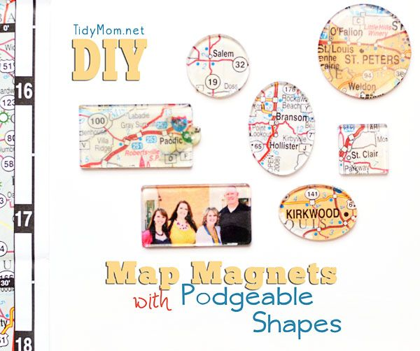 Map Magnets with Mod Podge Podgeable Shapes and TidyMom
