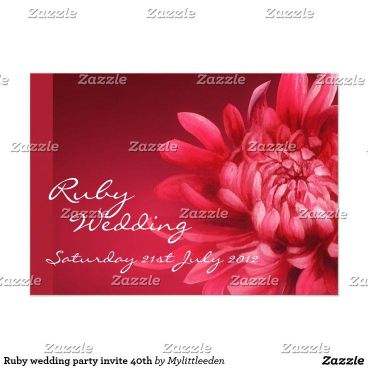 Ruby wedding party invite 40th