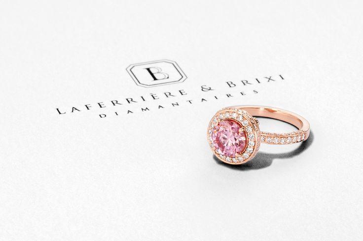 Pink diamond ring Bague diamant rose