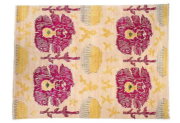 9 X12 2 Quot Sari Wool Ikat Rug Fuchsia Saris Rugs And Wool