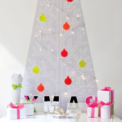 CHRISTMAS IN #HTFSTYLE - The fluoro 3D Removable, reusable Christmas tree wall decal with lights & baubles | hardtofind.
