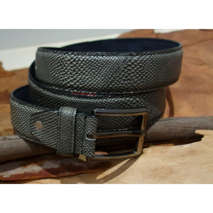 Men's Casual Leather lined Snake Print Belt with Zinc Pin Buckle