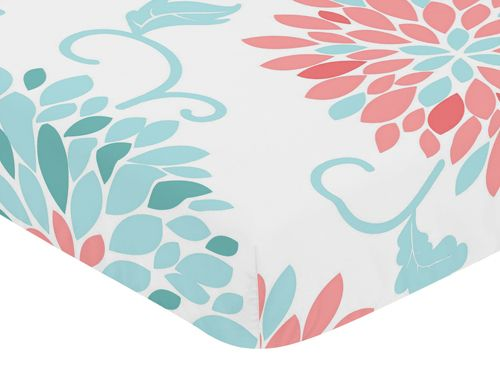Coral and Turquoise Floral Print Fitted Crib Sheet for Sweet Jojo Design Emma Bedding Set