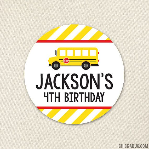 School Bus Party by Chickabug { Sheet of 12 large or 24 small stickers } Come hop aboard the party bus! If your little one loves school busses this is