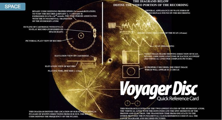 Voyager Disk reference card. (Credit: Gizmodo) Voyager I is now officially flying into interstellar space. In the future, an alien spaceship may come across it. When they do, they will find two things: a golden disk and a record player. How to interpret the instructions on the cover.: Interstellar Spaces, Spaces Shots, Voyage Disc, Aliens Spaceships, Records Players, Disc User, Spaces Exploration, Voyage Disk