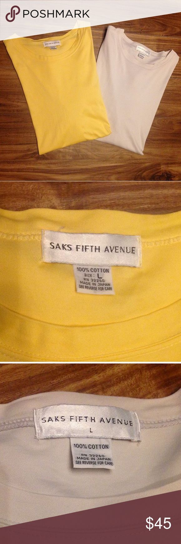 2 Saks Fifth Avenue T-Shirts:Yellow & Off-White, L Includes both shirts. No stains/holes. Both size Large. Silky feel Saks Fifth Avenue Shirts Tees - Short Sleeve