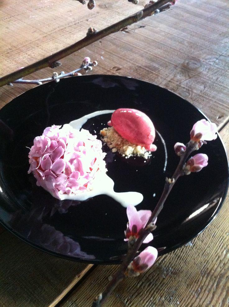 Peach, raspberry, peach flowers.