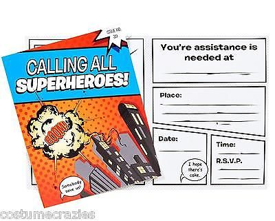 SUPERHERO-PARTY-Invitations-Pack-of-8