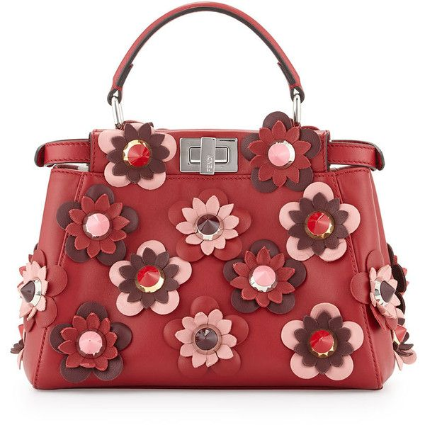 Fendi Peekaboo Mini Allover Flower Satchel Bag featuring polyvore, women's fashion, bags, handbags, red, red satchel purse, fendi handbags, studded satchel handbag, fendi purses and mini satchel handbags