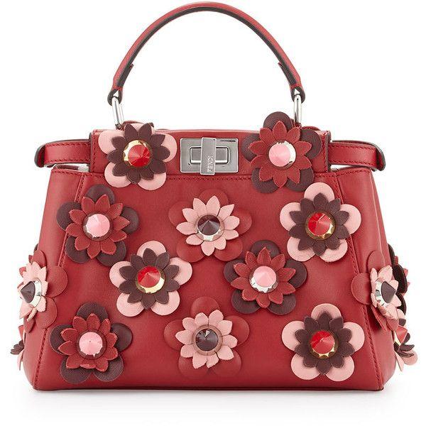 Fendi Peekaboo Mini Allover Flower Satchel Bag (€5.020) ❤ liked on Polyvore featuring bags, handbags, fendi, purses, red, man bag, studded purse, studded handbags, fendi handbags and mini satchel