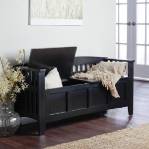 Black Entryway Bench With Storage