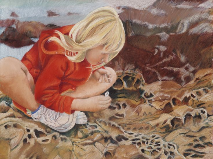 A pastel of my niece sitting on the rocks along the shore in Cambria, CA.