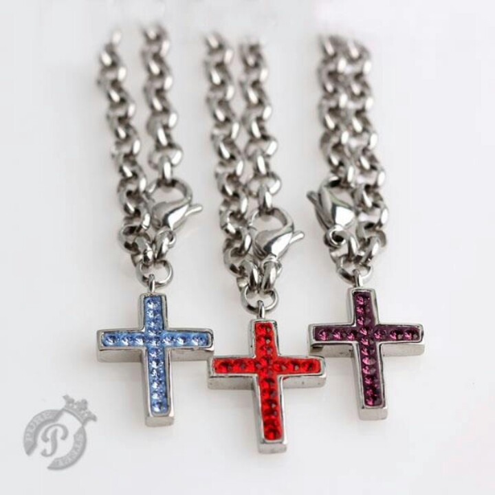 Steel chain charm carrier with cross
