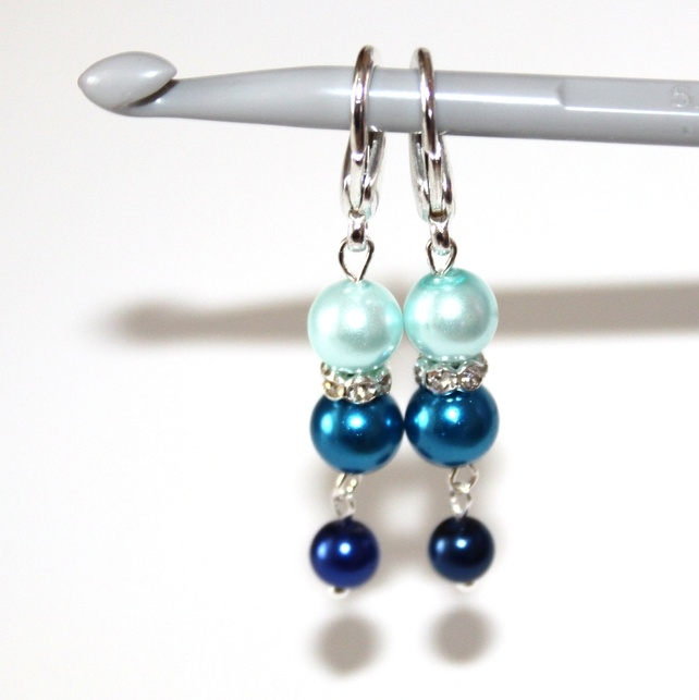 Blue & Silver Crochet Stitch Markers: Silver Crochet, Crochet Stitches, Stitch Markers