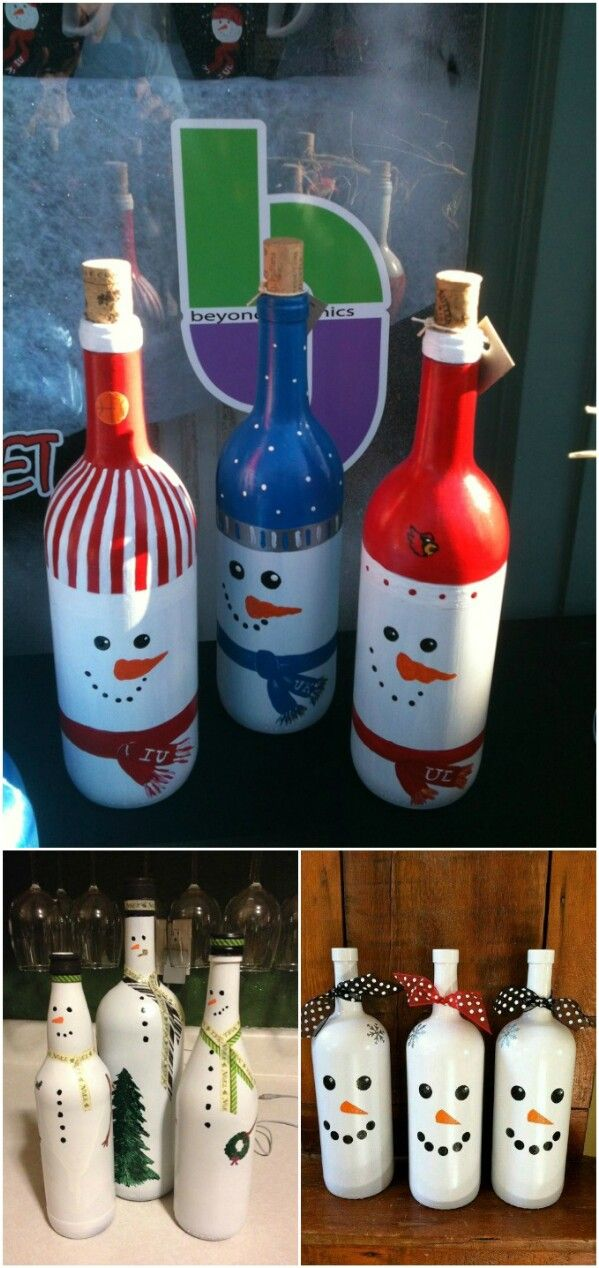 Snowmen Painted Bottles
