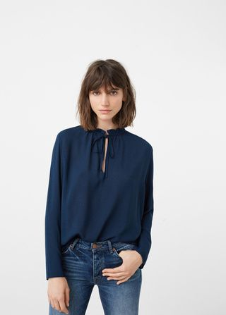 Tie-neck, mango, blouse, shirt