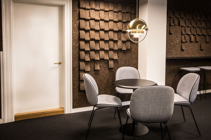 Interior at Csis with furniture from Gubi and Impact Random wall by GrapeDesign