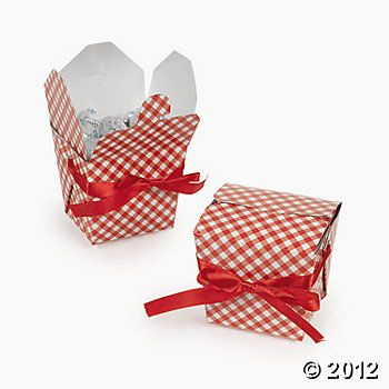 Red Gingham Takeout Boxes - I want to fill these with mini herb plants, to decorate the tables. Fresh basil, particularly. It can be used on their dinners!