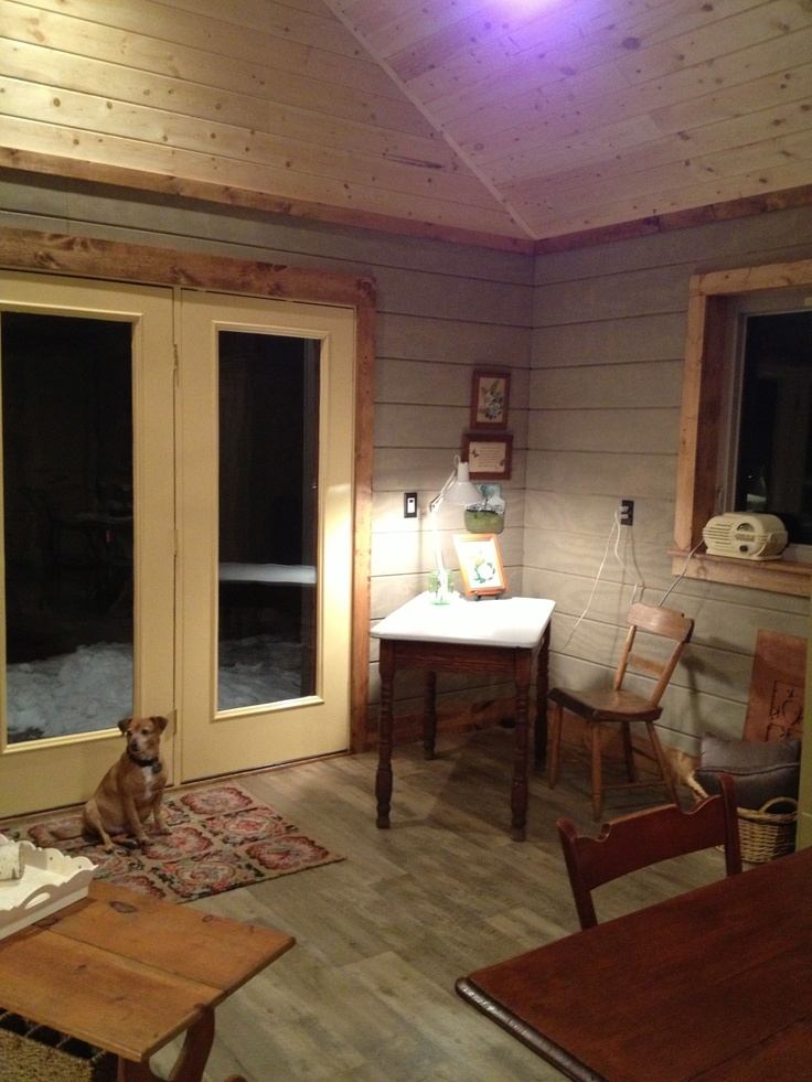 Another View Of The Tongue And Groove Pine Ceiling The Walls Are The Same T 111 Siding Which