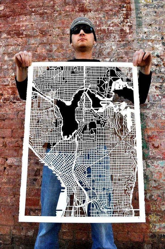 "Seattle hand cut map, 22""x30"""