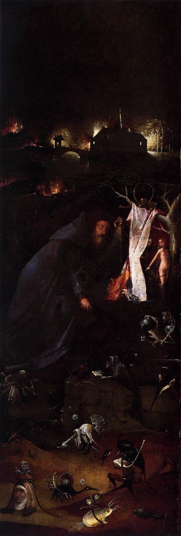 Hermit Saints Triptych (left panel), 1505, Hieronymus Bosch