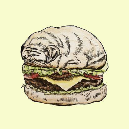 Pug Burger Art Print