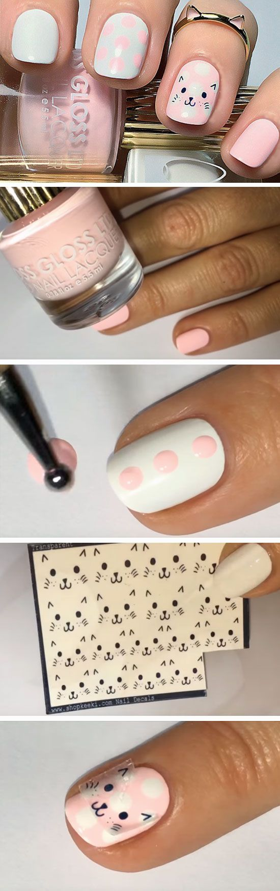 Dotty Cat | Easy Spring Nail Designs for Short Nails 2016