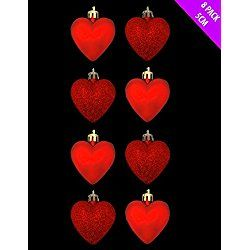 8 x 5cm RED Glitter + Matt Heart Shaped Valentine's Day Baubles