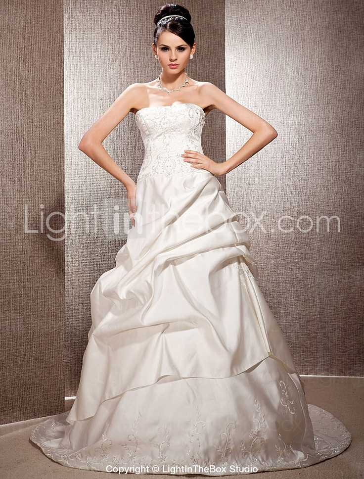 A-line Strapless Court Train Satin Wedding Dress - EUR € 313.49
