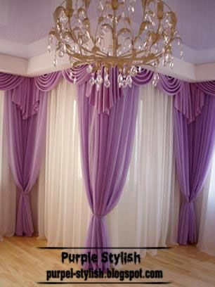 Purple curtain for living room, modern style