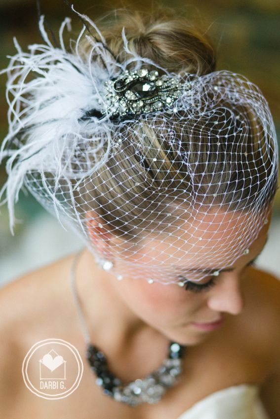 Bird cage veil feather jeweled brooch by Sara Gabriel Veiling & Headpieces --up wedding hairdo photo by Darbi G. Photography Kansas City wedding photographer www.DarbiG.com